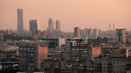 sovyet : Moscow general view sunset Stok Video