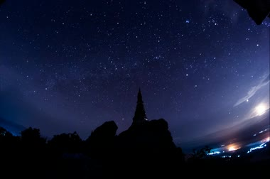 parlayan : startrail and comet on Lampang pagoda sky Thailand.