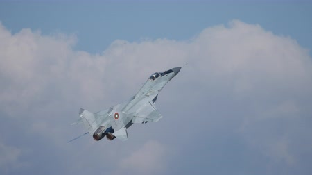 başkan : Cold War Combat Aircraft Mikoyan Gurevich MiG 29 Fulcrum of Bulgarian Air Force Climb Up after Take Off. MiG-29 is a Soviet Russia Military Jet Plane of the Cold War. Sofia Bulgaria 11 Oct. 2014 Stok Video