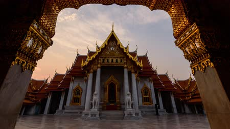 wat : Bangkok , Thailand - 13 March, 2018: Wat Benchamabophit Dusitwanaram landmark in Bangkok, Thailand in Sunrise time  Outside of Wat Benchamabophit Dusitwanaram