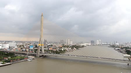 osm : Cloud storm at Big Suspension bridge with lighting in night time  Rama 8 bridge in night time Dostupné videozáznamy