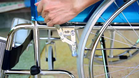 elderly care : Brake system of wheelchair Stock Footage