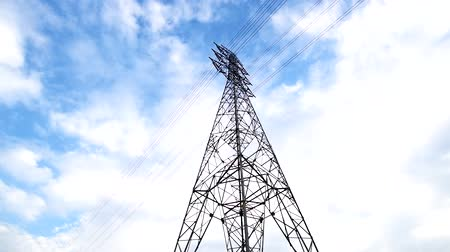 high voltage pole with blue sky