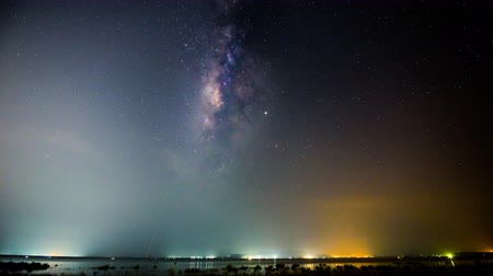 Time lapse of milky way at the lake in night time