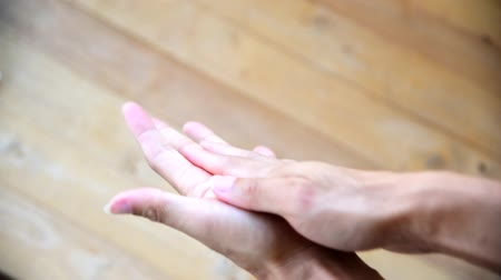 disinfectant : Use sanitizer gel for cleaning the hand for protect health from disease Stock Footage