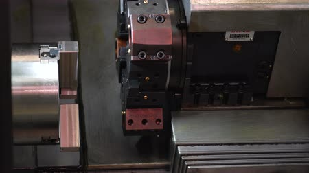 CNC milling machine. Lathe turning lathe. Stock mozgókép