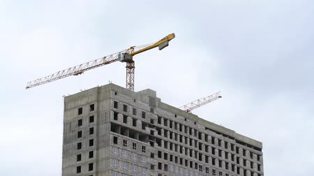 A construction crane transports cargo. Construction of a multi-storey building.