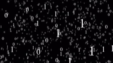 párhuzamos : Binary code in cyberspace. White zero and one on a black background. Animated matrix.