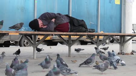 evsiz : Homeless man sleeping on the bus stop Stok Video