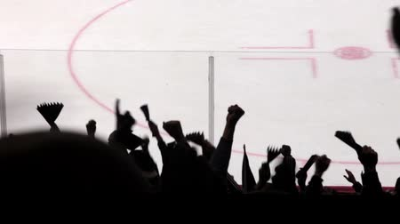 hockey rink : Silhouettes of fans in the background ice hockey rink. Stock Footage
