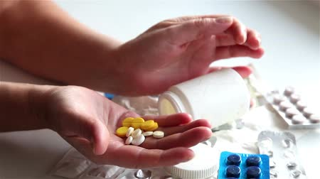 bipolar disorder : Girl wants to poison himself pills. Stock Footage