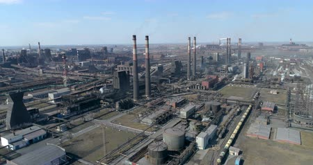 demirli : Pipes smoke on the city. Aerial. Stok Video