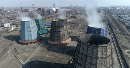 demirli : Camera Is Removed From The Nuclear Cooling Towers. Aerial. Stok Video