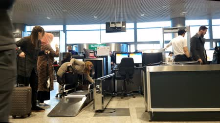 safeness : Moscow, Russia - June 1, 2017: Security check bag and scan at the international airport Vnukovo.