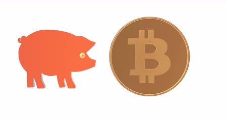 piggy bank : Crypto currency is flying into the piggy bank. Stock Footage