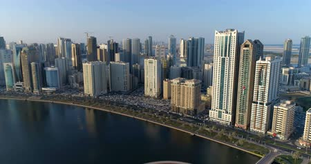 arabian sea : Flight over the city from a height of 150 meters. Sharjah. Stock Footage