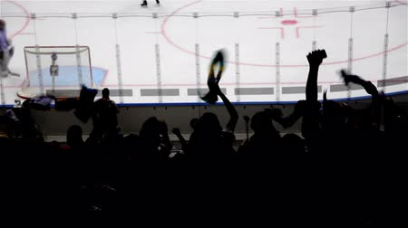 Hockey stadium silhouettes Fans are chanting at a hockey stadium. Stock Footage