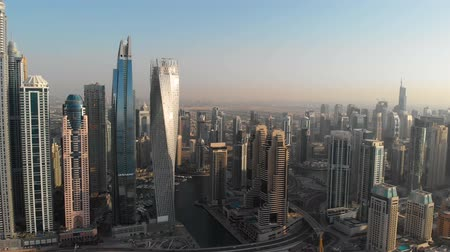 Panorama of the modern district of Dubai Marina against the sky. United Arab Emirates.