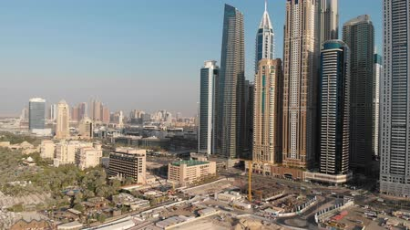 Dubai Marina district from a height of 120 meters. Stock Footage
