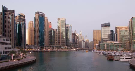 Panorama of Dubai Marina Time Lapse. Stock Footage