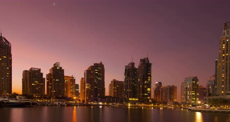 Dawn in the Dubai Marina. Time Lapse. Stock Footage