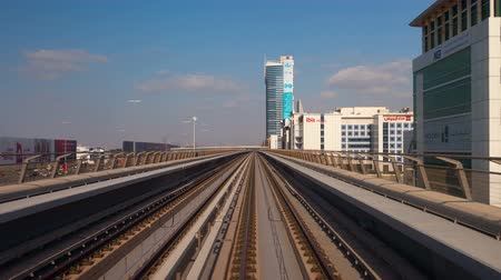 View of the city of Dubai from the subway. Time Lapse.