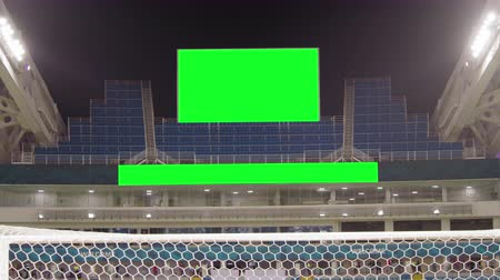 Scoreboard at the Football Stadium with a Green Screen Stock Footage