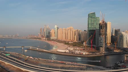 Panorama of Marina Beach in Dubai Marina. Stock Footage