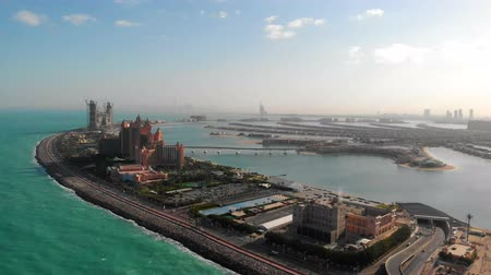 View of the island Palm Jumeirah in Dubai. Stock Footage