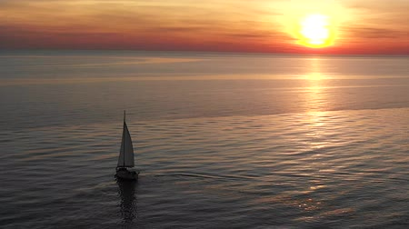 serene : Yacht At Sea In The Evening