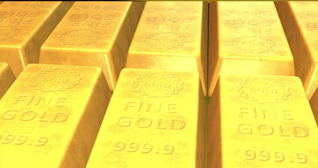 bullion : Close Up Of Gold Bars Moving Stock Footage