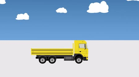 axle : Lorry Without Cargo Moves on the Road Stock Footage