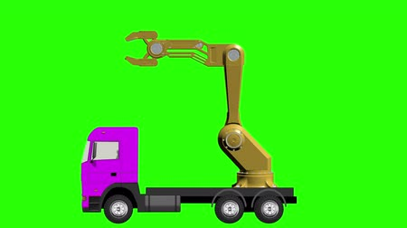 vorkheftruck : Truck Mounted Crane on a Green Background
