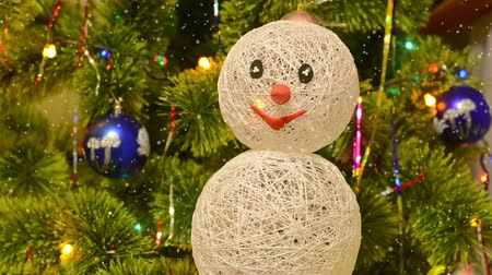 lentejoula : Beautiful Christmas fur-tree decorated with snowman toy