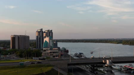 water show : Timelapse of the city Barnaul, Altai, Russia Stock Footage