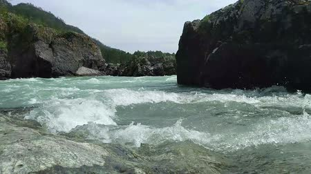 The mountain Katun river with pure, cold and turquoise water. Altai Mountains, Siberia, Russia.