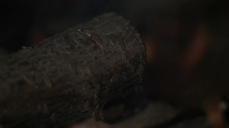 bbq grill : The fire in the grill. Burning firewood. closeup