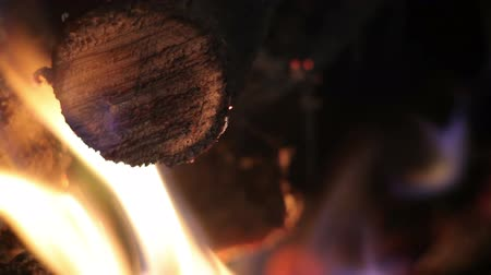 grelha : The fire in the grill. Burning firewood. closeup