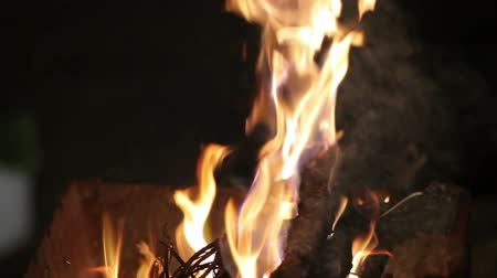 grelha : The fire in the grill. Burning firewood.