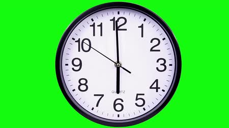 clock hands : Wall clock on a green background 18:00