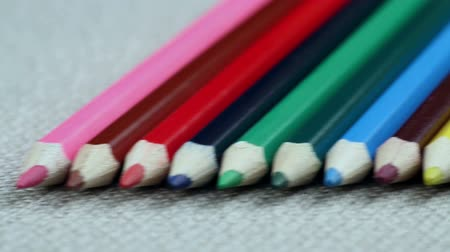 papeteria : Colored Pencils Twelve Pieces Lie on White Cloth. Smooth Passage Chamber Pencil Wideo
