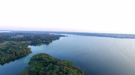 aeroespaço : Flying Over The River Dnipro at Sunset. Aerial Survey Phantom 3 PRO, 4k