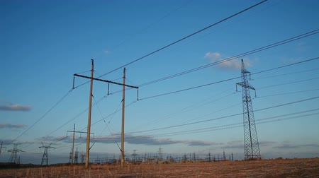 kable : High-voltage Line. Poles With Wires at Sunset.