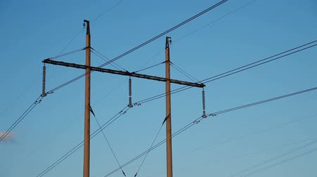 kable : High-voltage Line. Poles With Wires at Sunset