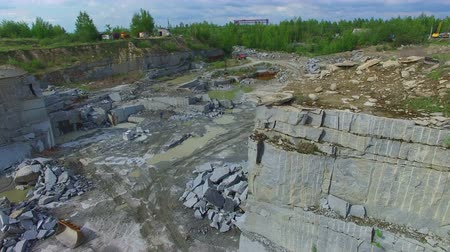 pedreira : Flying over the stone quarry. Extraction of granite stone. aerial survey