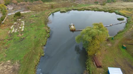 water conservation : Flying over water treatment plants. aerial survey