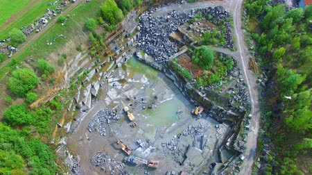 pedreira : Flying over the stone quarries of gray granite. aerial surveyFlying over the stone quarries of gray granite. aerial survey