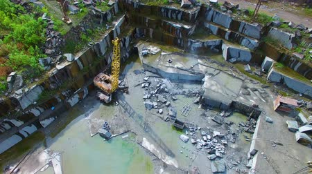 pedreira : Flying over the stone quarries of gray granite. aerial survey