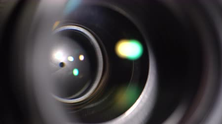 videocamera : Lens DSLR camera. Closed iris diaphragm. Close-up