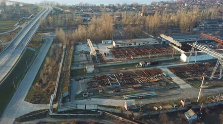 погрузчик : Flight over metallurgical warehouse